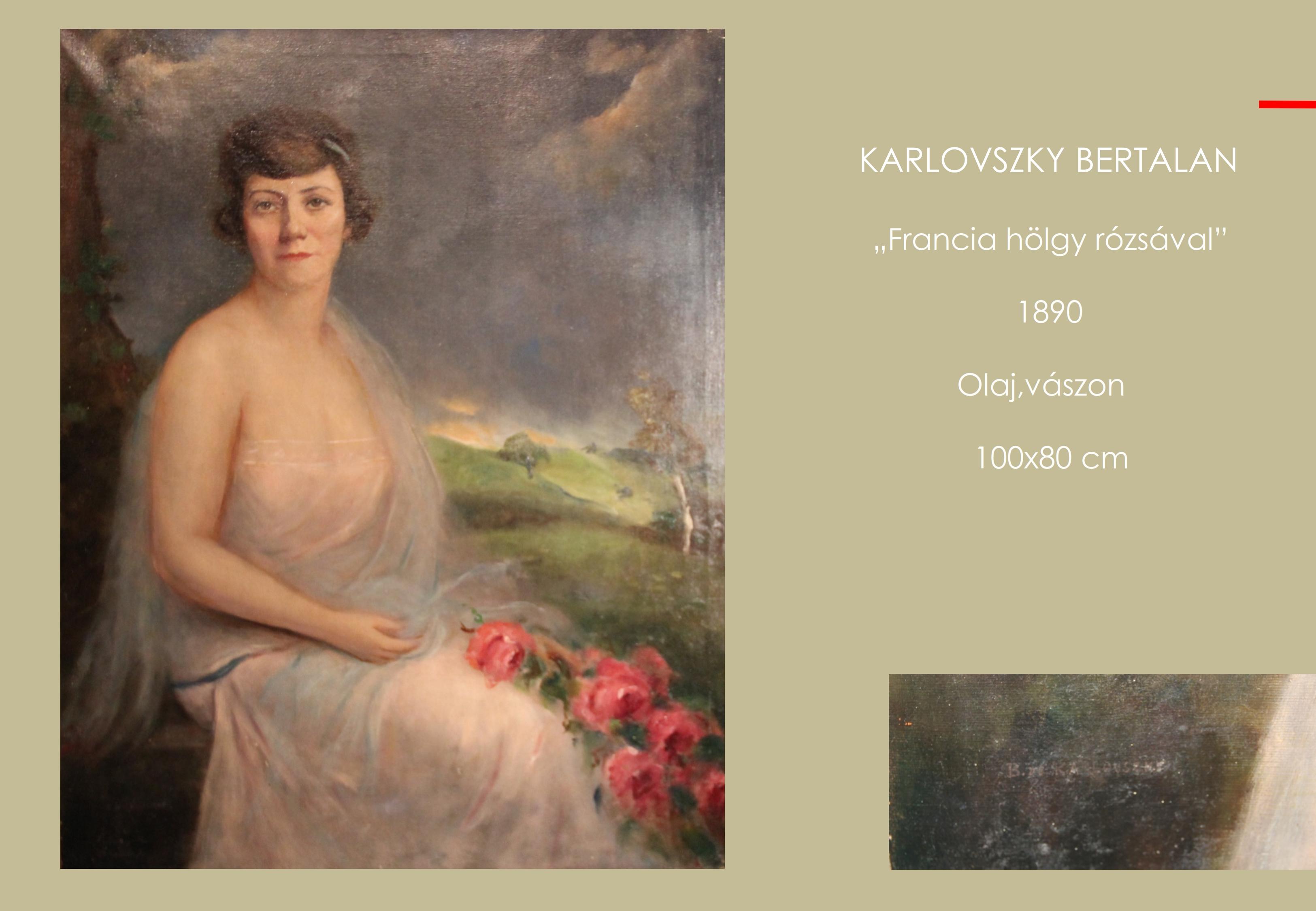 Karlovszky Bertalan - Francia hölgy rózsával