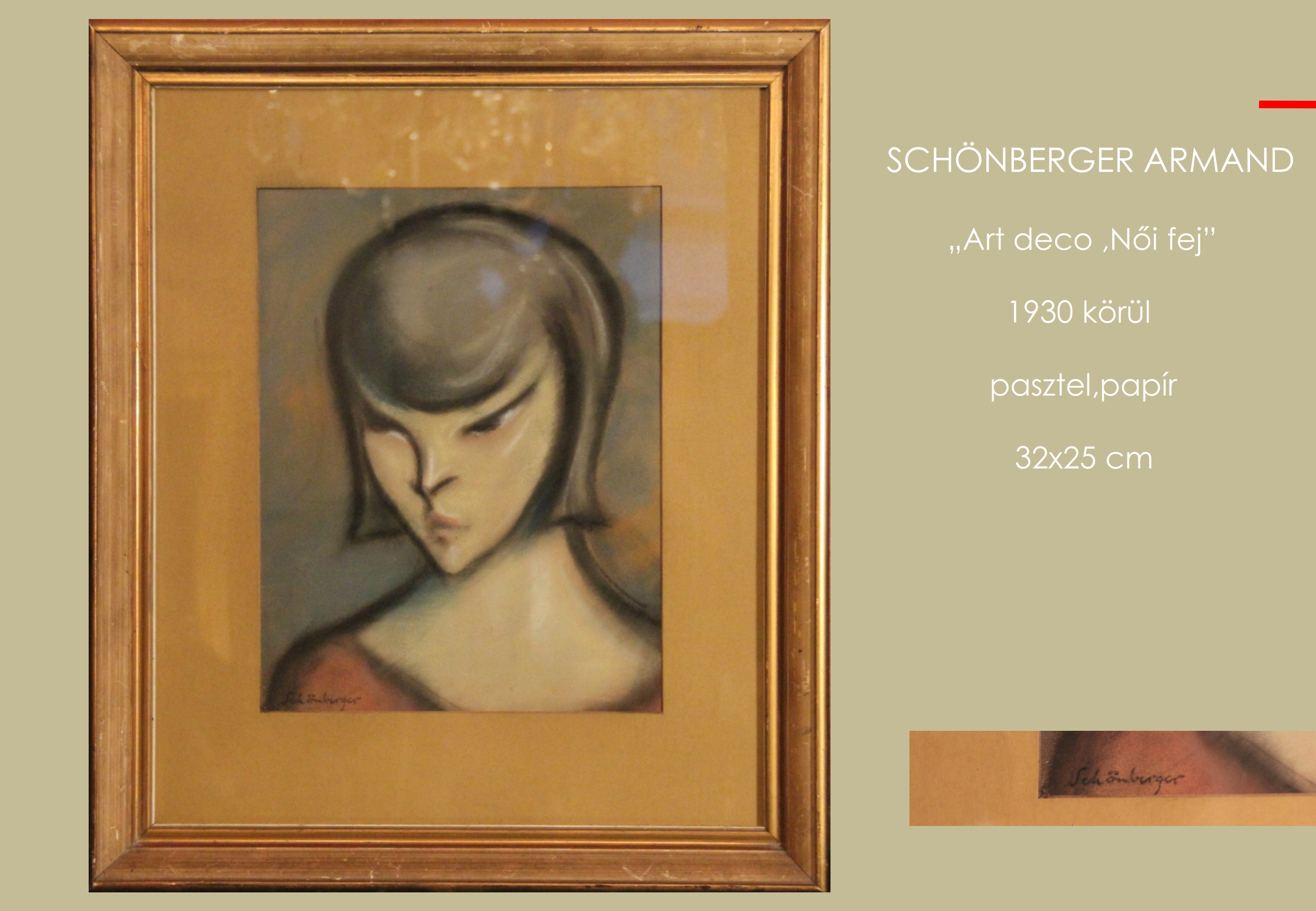 Schönberger Armand - Art deco női fej