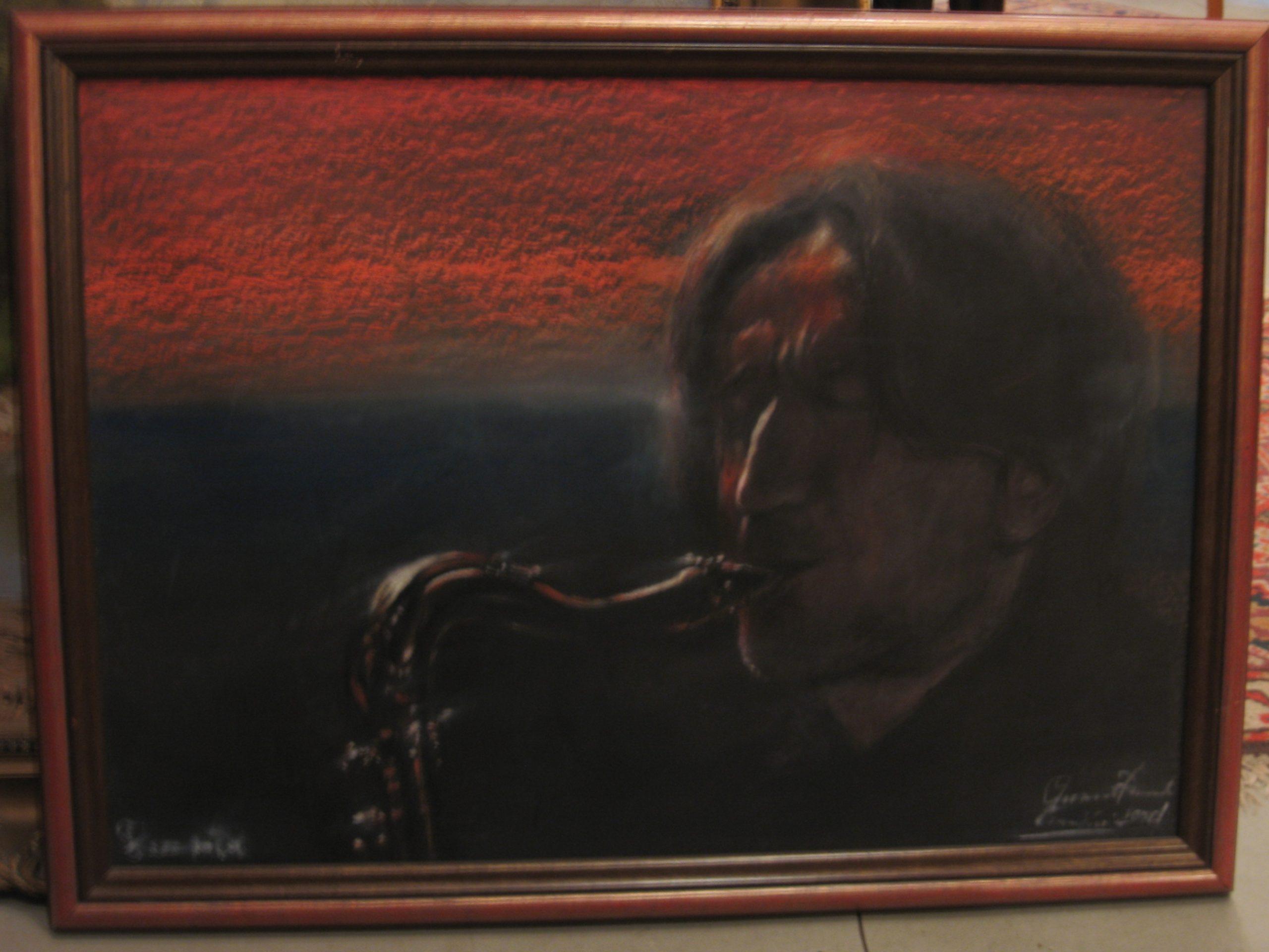 Csanálosi-Tibor-Zenésztanulmány-Szaxofonos_50×70